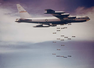 B-52 Stratofortress dropping bombs in the 1960's. (U.S. Air Force graphic)